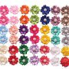 YAKA 40PCS(20Paris) Cute Dog Hair Bows with Rubber Bands Pearls Flowers Topknot Dog Bows Pet Grooming Products 20 Colors